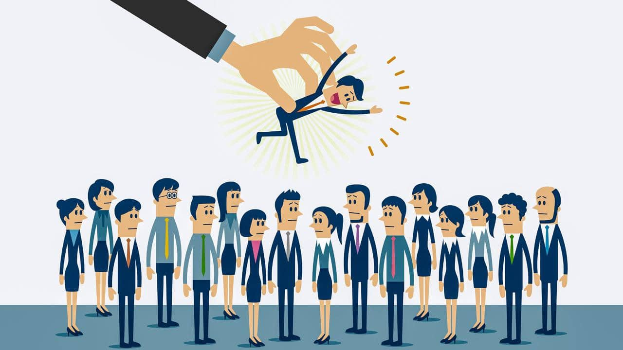 Graphic of a business person being picked from a pool of people