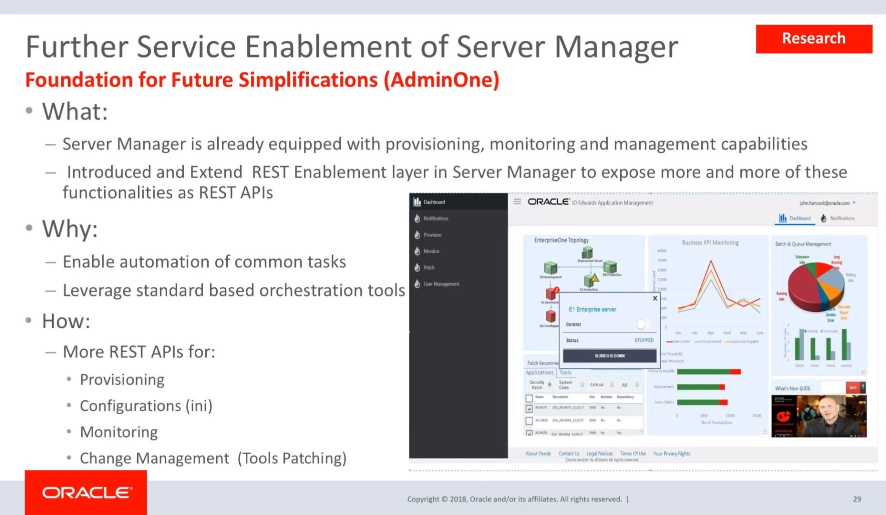 JD Edwards EnterpriseOne Server Manager: Simplifications and