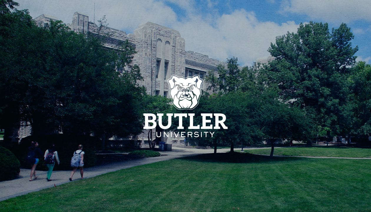Butler University logo overlaid on an image of the campus