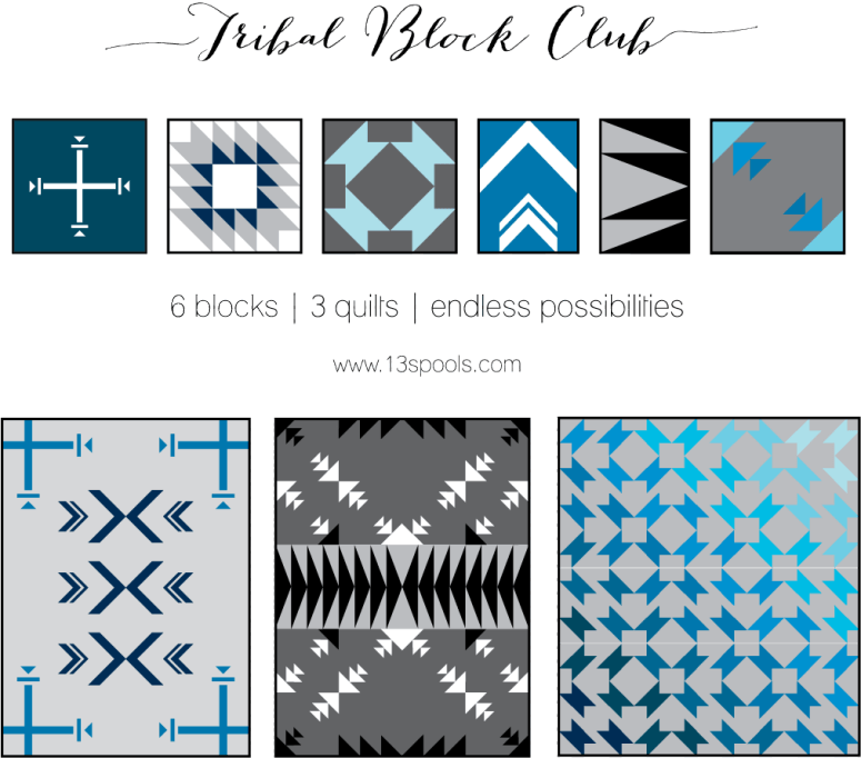 Tribal Block Club a block of the month by Amy Garro of 13 Spools | from QuiltAlong.net