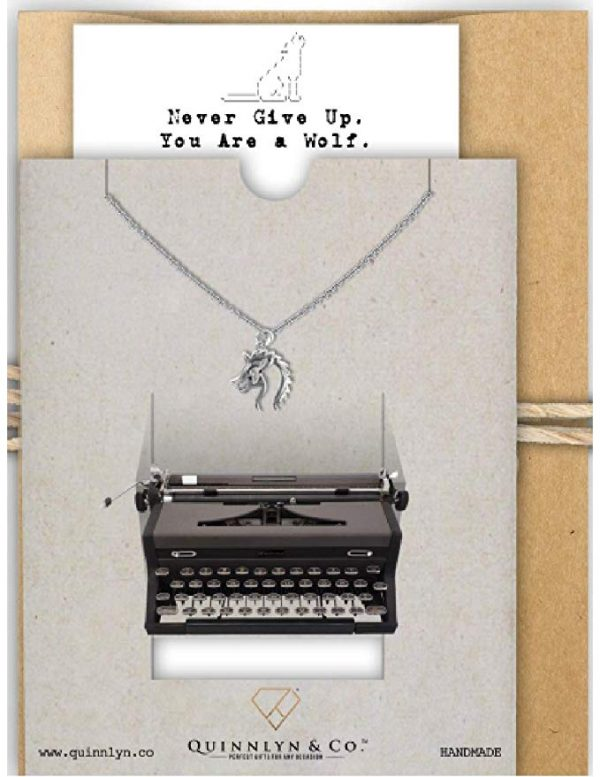 Quinnlyn - Wolf - Pendant - Never - Give - Up - Inspirational - Card