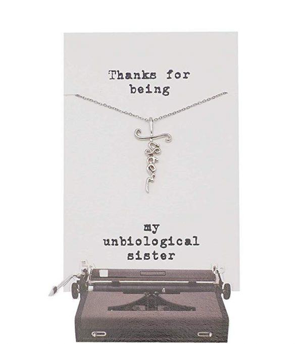 Quinnlyn - Unbiological - Sister - Cursive - Cross - Pendant - Card - Appreciation