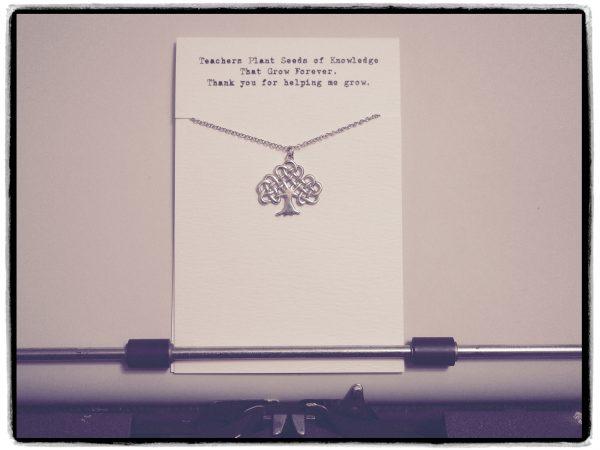Quinnlyn - Teacher - Tree - Necklace - Pendant - Inspirational - Card