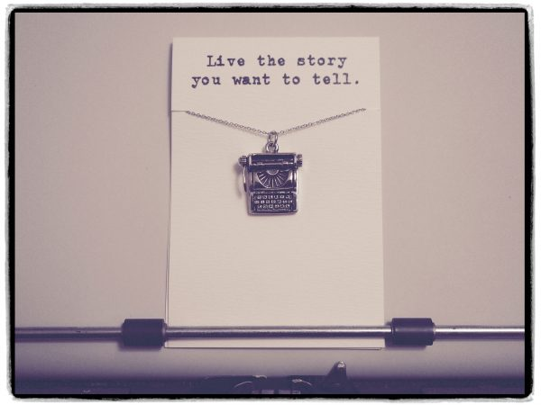 Quinnlyn - Typewriter - Necklace - Inspirational - Card - Pendant