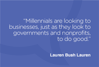 Millennials are looking to businesses, just as they look to governments and nonprofits, to do good.