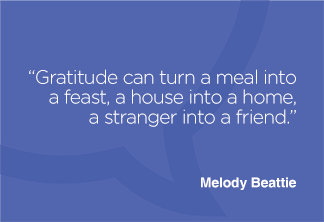Gratitude can turn a meal into a feast, a house into a home, a stranger into a friend.