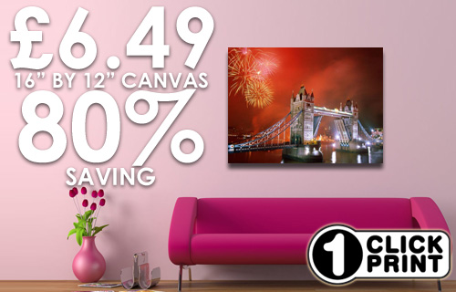 Check out this picture perfect deal - 80% off an A3 canvas from 1 Click Print for just �6.49