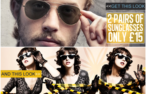 The future is so bright, you have got to wear shades! Two pairs of sunglasses for �15