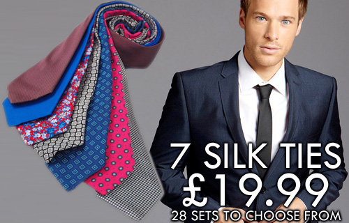 A sophisticated accessory for every day of the week - seven silk ties for �19.99