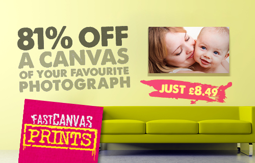 81% off a 30cm by 40cm canvas created from a favourite photograph by Fast Canvas Prints � just �8.49 usual price �44.99