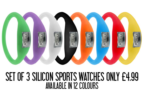 3 silicon sports watches from quirky online for only �4.99