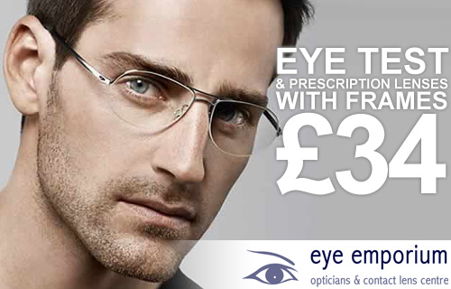 An eye-opening 72% saving on an eye test and prescription glasses from Eye Emporium opticians