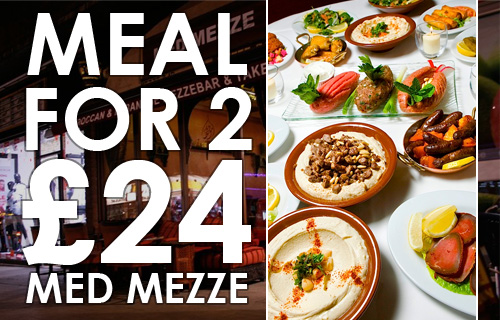 A Taste of the Mediterranean for �24 with 62% off a meal and entertainment for two at Med Mezze