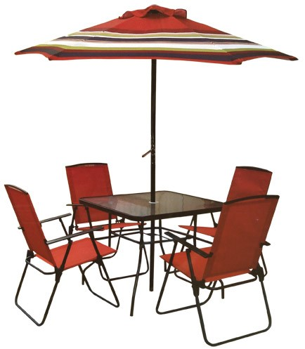 Picture of six-piece outdoor patio set containing four folding chairs, a table and an umbrella. UPC number is 011822350303 and item number is 9034923.