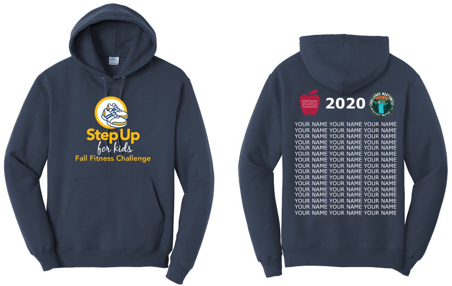 Step Up for Kids Virtual Fitness Challenge 2020 Shirt Design - Front side of shirt with Step Up for Kids Logo and Back with list of participant names