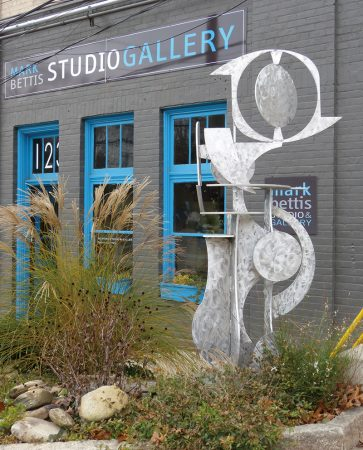 Outdoor sculpture at Mark Bettis Studio in Asheville River Arts District.
