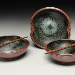 lori theriault, the village potters, crazy green studios, asheville nc, pottery, ceramics, commission, service ware, chef potter collaboration
