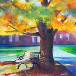 This painting is all about autumn color and light