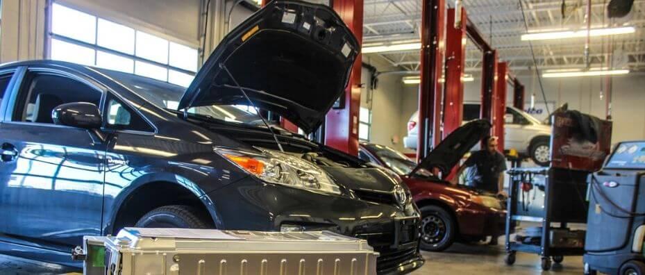 cars in a repair shop