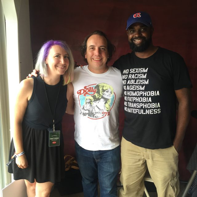 Jade (left) from the Current with Har Mar Superstar (center) and 88Nine's Tarik Moody, live from Eaux Claires Festival.
