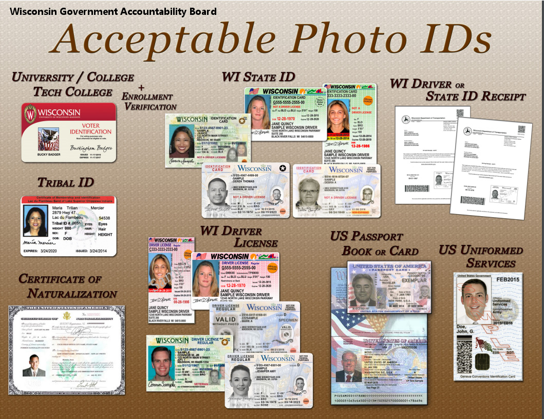 acceptable photo ids for primary election in Wisconsin