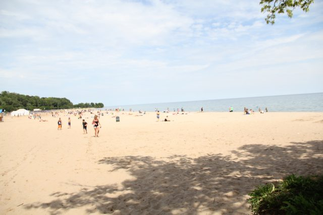 Even on an overcast Friday afternoon, Bradford Beach was a destination for outdoor relaxation.