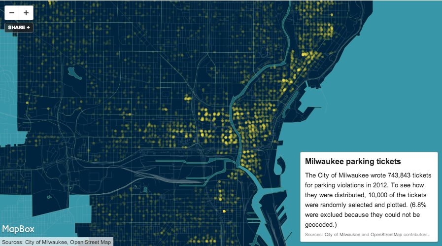 A map of parking ticket hotspots in Milwaukee