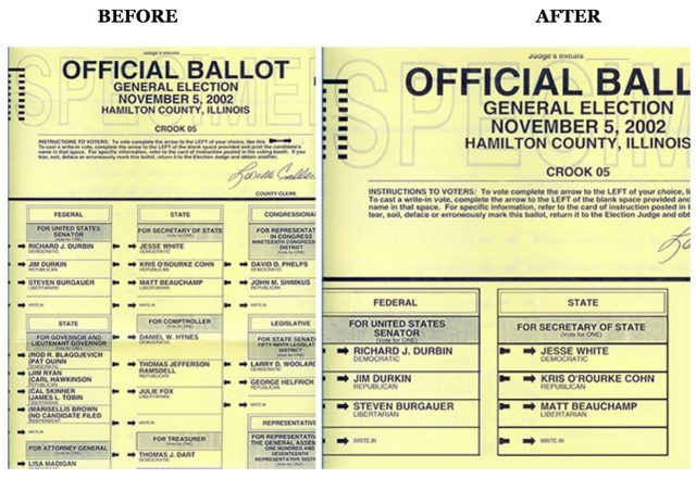Illinois' Hamilton county confusing ballot, and suggested redesign.