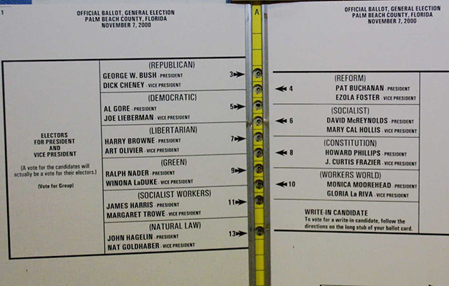 Palm Beach county's infamous butterfly ballot.