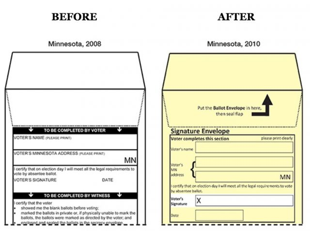 Minnesota absentee ballot mailing envelopes, in 2008 and redesign in 2010.