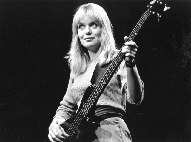 Tina Weymouth of the Talking Heads, August 1983, by Anastasia Pantsios, on display in Girls on Film: 40 Years of Rock, at Zoellner Arts Center, Lehigh University, Jan. 25-May 25. The traveling exhibit from the Rock & Roll Hall of Fame and Museum features 43 photographs by Pantsios. /// - FEATURES - Photos by Anastasia Pantsios