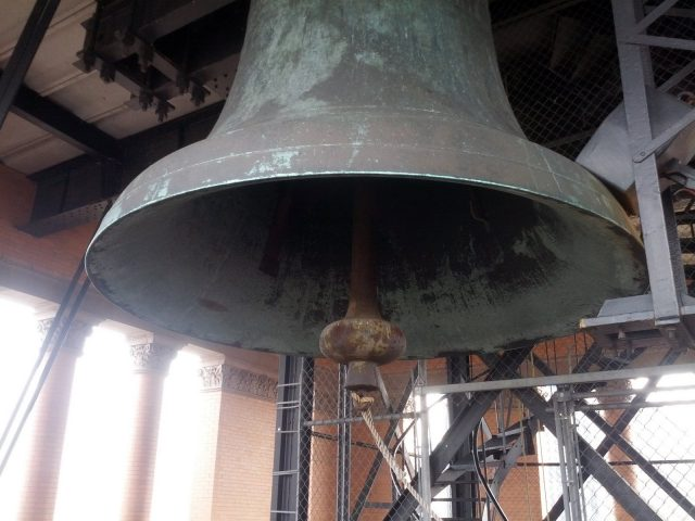 Close-up of the Solomon Juneau bell located above Milwaukee's City Hall.