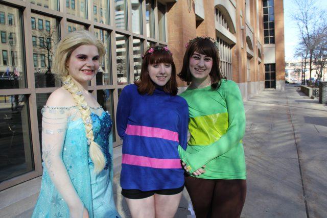 Danielle Buaer, Kalia Keiser and Melissa Stevens enjoy the final day of Anime Milwaukee.