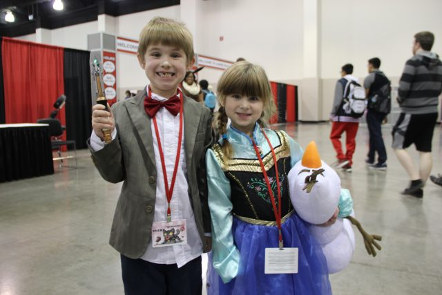 Cheese! Two youngsters sport their costumes on Sunday as the 11th Doctor Who and Ana from Frozen.