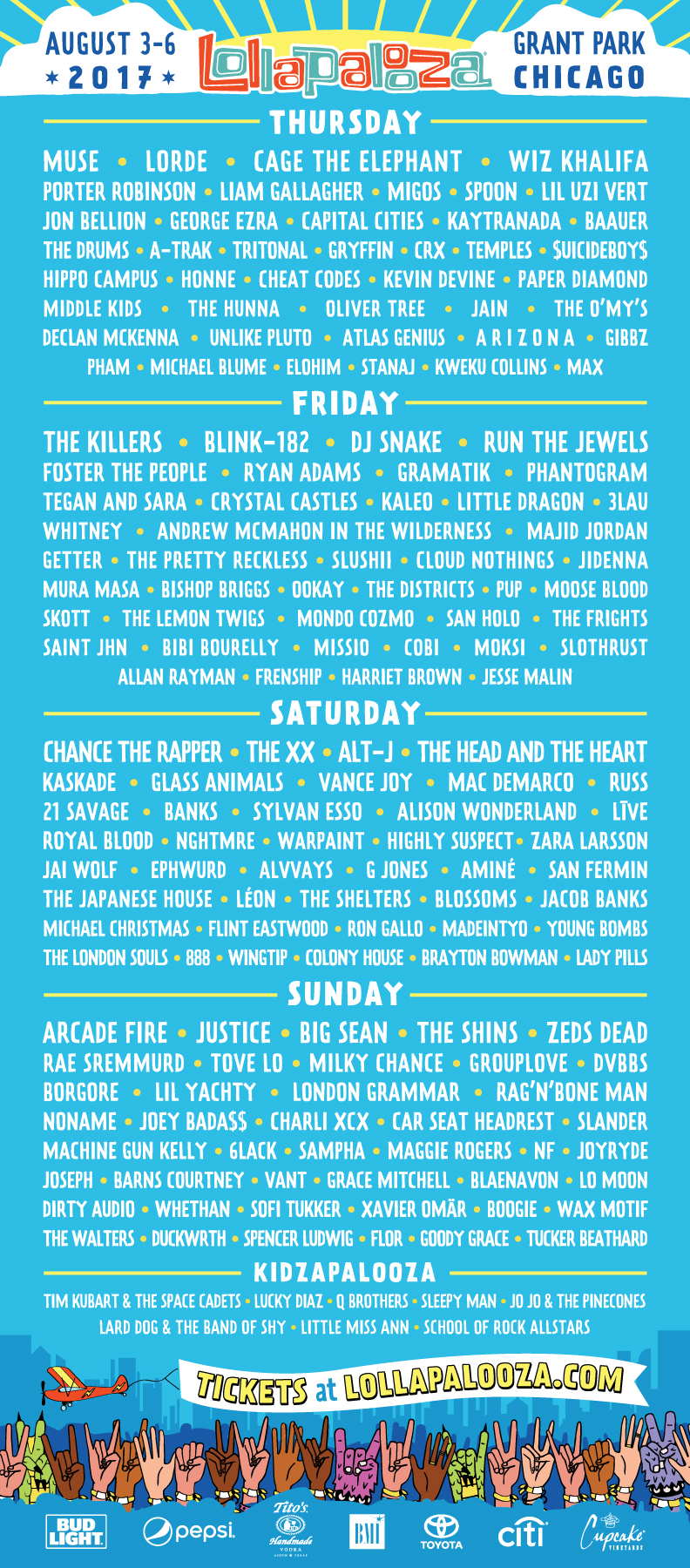 Lollapalooza 2017 lineip