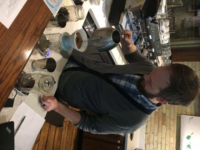 Marshall, one of Stone Creek Coffee's Account Managers, gets things brewing .