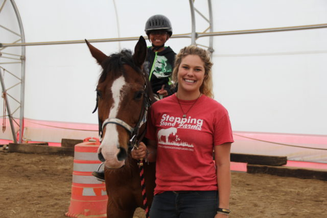 Trainer Tori Cockley working with a student this past Saturday at Stepping Stone Farm.