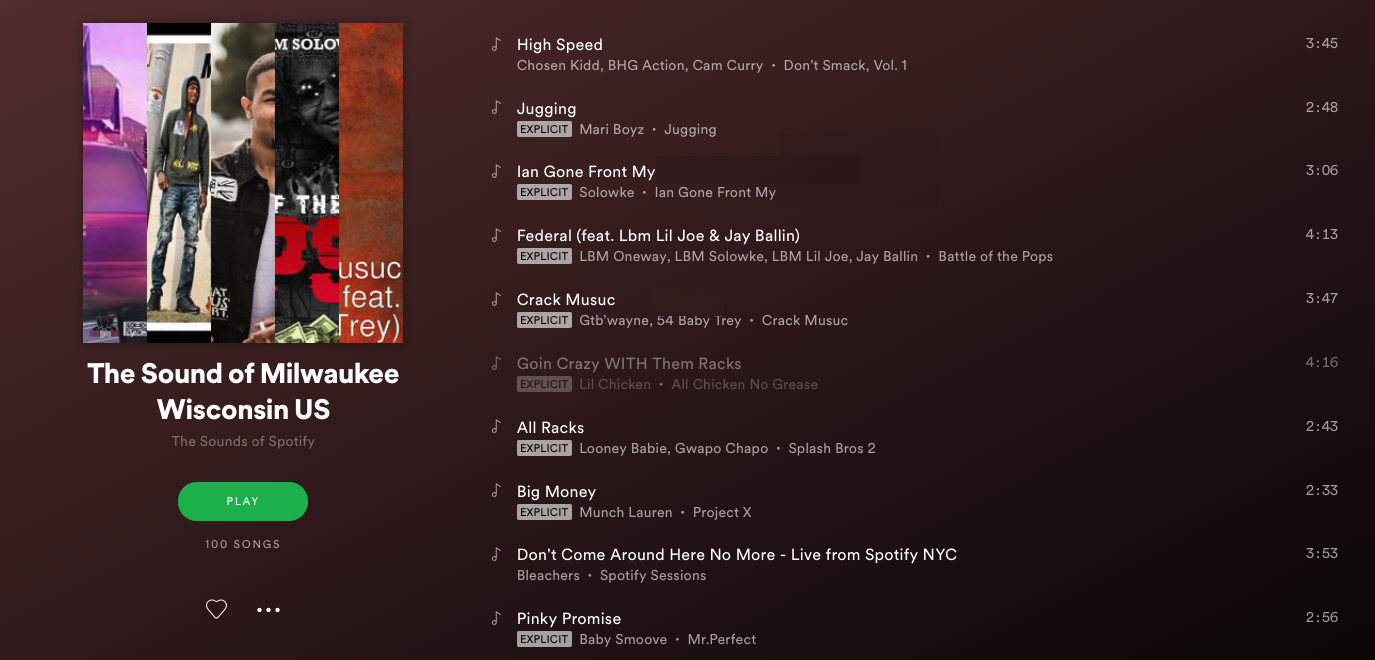 Spotify's Milwaukee chart and playlist affirms that Milwaukee
