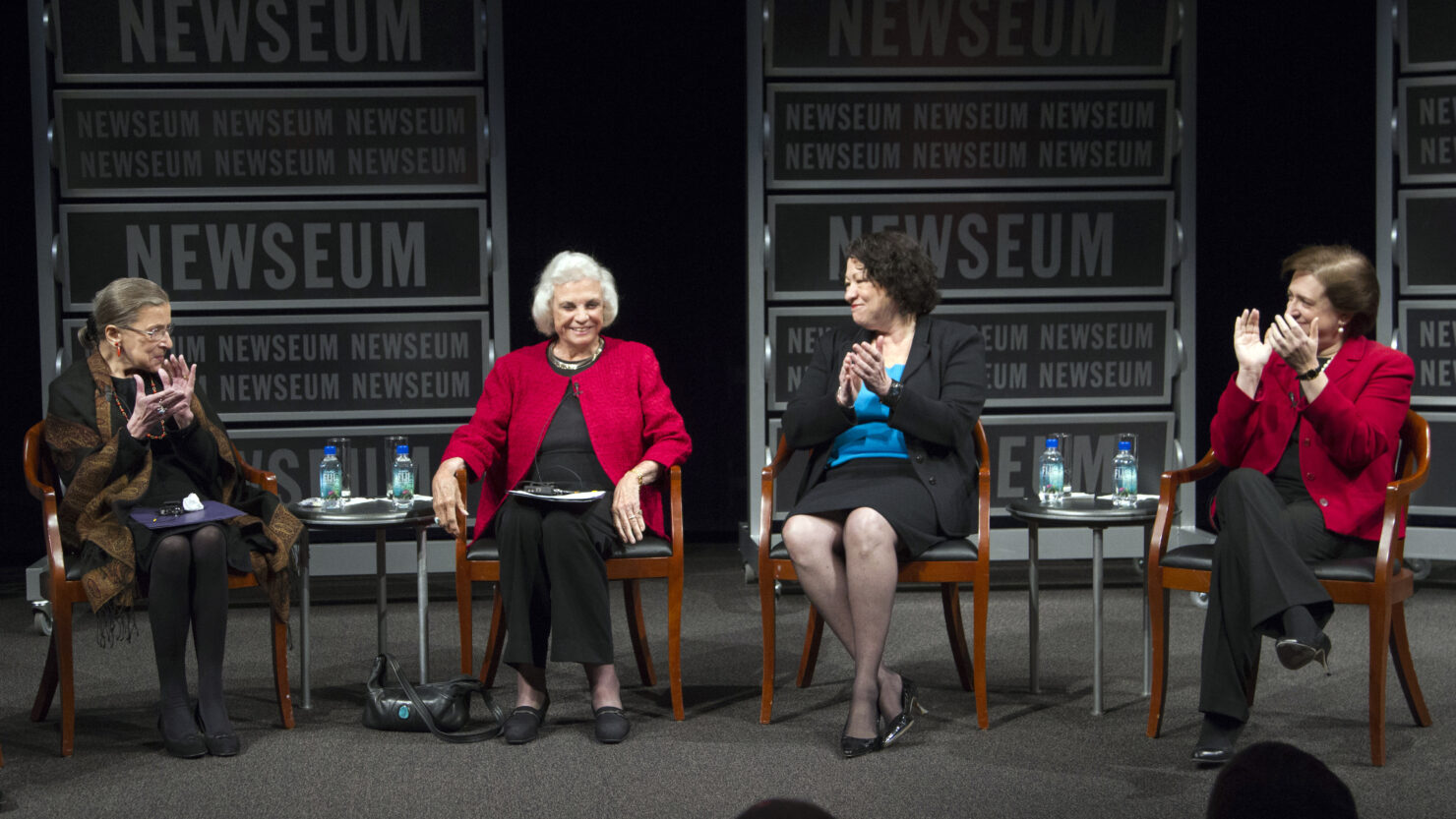 Ginsburg (left) joins the only three other women to sit on the U.S. Supreme Court — Sandra Day O'Connor, Sonia Sotomayor and Elena Kagan — in a celebration of O'Connor, the first woman justice, at the Newseum in Washington in 2012. Manuel Balce Ceneta/AP