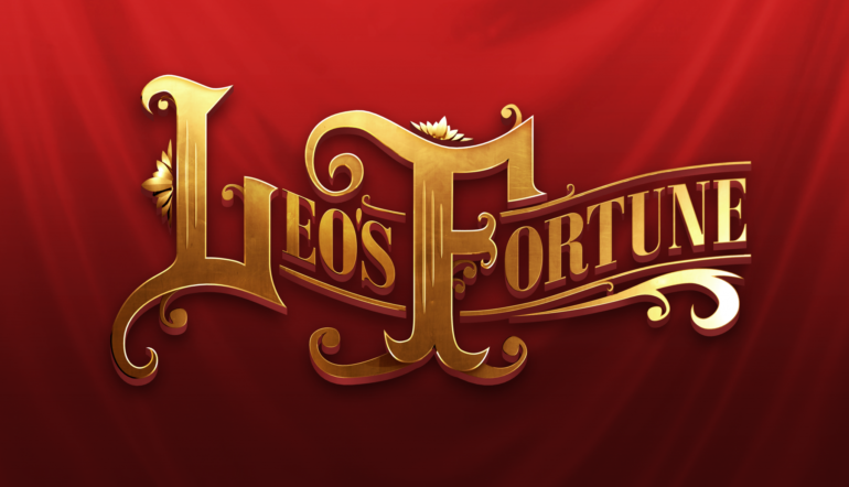 Leo logo red background