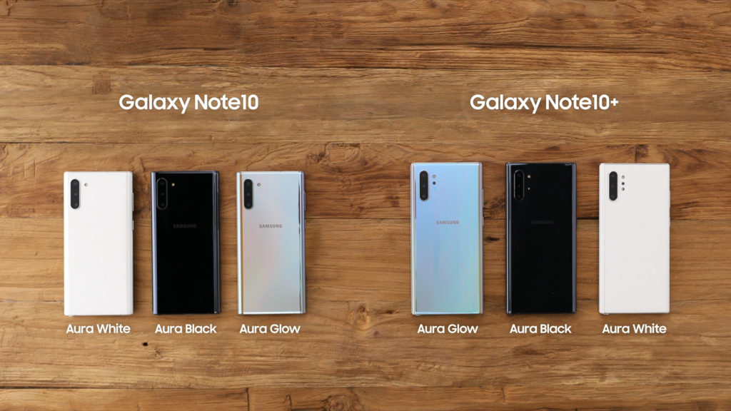Galaxy Note 10 & 10+ color options.