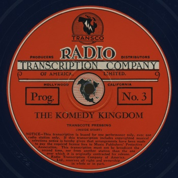 "1937 was a banner year for Transco, the Hollywood-based producer of ""Komedy Kingdom"". By November of that year, their new holiday release, ""The Cinnamon Bear"", would be heard on radio stations nationwide - establishing a yuletide tradition that lives on to this very day."