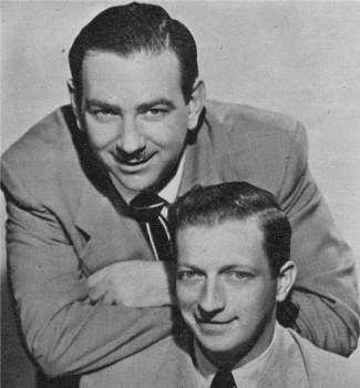 Ray Goulding (the one with the mustache) and Bob Elliott (without the mustache) in an NBC photograph from 1951