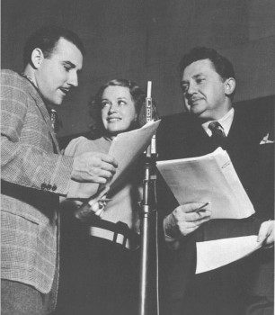 "Gale Gordon, Rosemary De Camp, and Jean Hersholt at a ""Dr. Chistian"" broadcast, circa 1938."