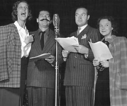 Elvia Allman mugs with Jerry Colonna, Bob Hope, and Blanche Stewart on a 1940s broadcast of Hope's popular weekly comedy series.