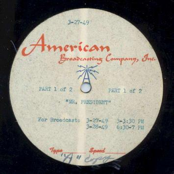 """Mr. President"" Disc Label"