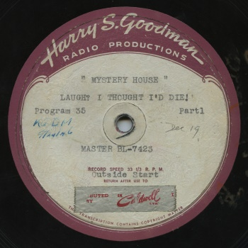 Mystery House Disk Label