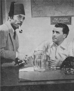 "Jay Novello and Jack Moyles pose in character for a CBS photo publicizing ""Rocky Jordan""."