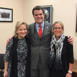 Dean Crowe and Rally Pensacola Director Cindi Bonner with Congressman Gaetz in March 2016.