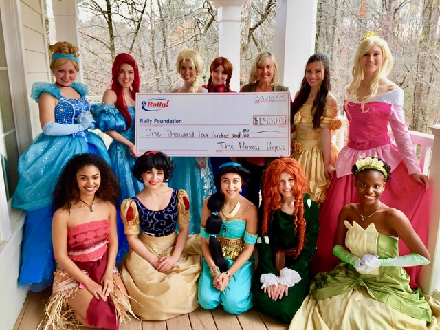 "Our first check presentation to Rally after our ""Springtime Mommy and Me Princess Tea"""